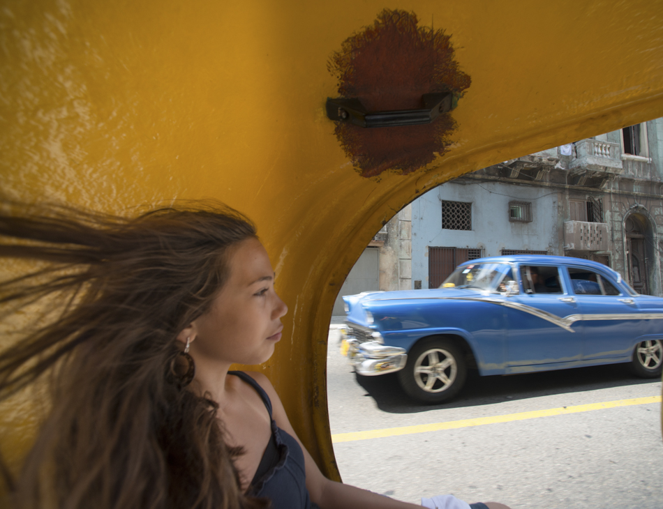 Girl in taxi, Havana, Cuba